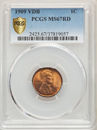 1909 VDB 1c Lincoln Cent PCGS MS67RD