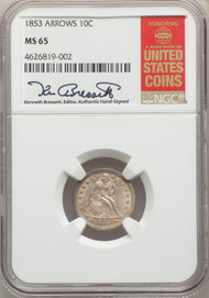 1853 10c Seated Liberty Dime NGC MS65 Arrows - 740337021