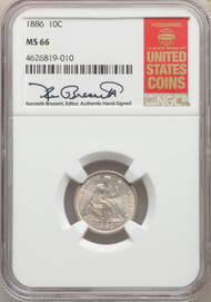 1886 10c Seated Liberty Dime NGC MS66 - 740337023