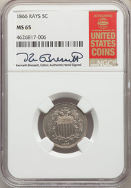 1866 5c Shield Nickel NGC MS65 Rays - 740337016