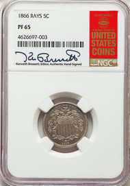 1866 5c Shield Nickel NGC PF65 Rays - 740337017