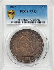 1872 S$1 Seated Liberty Dollar PCGS PR63