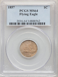 1857 1c Flying Eagle Cent PCGS MS64 - 740237002