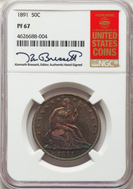 1891 50c Seated Liberty Half Dollar NGC PF67