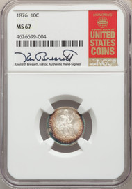 1876 10c Seated Liberty Dime NGC MS67