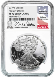 2019-S Proof Silver Eagle NGC PF70 First Day of Issue Mike Castle Signed