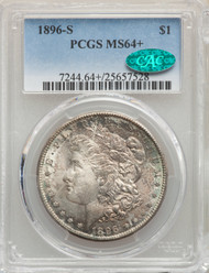 1896-S S$1 Morgan Dollar PCGS MS64+ CAC - 740884009