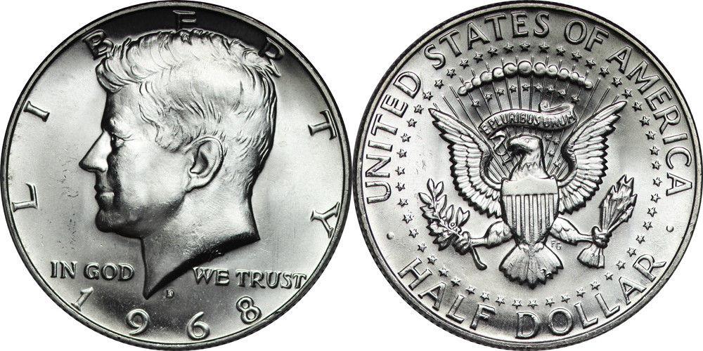 1968 Kennedy Half Dollar Roll Brilliant Uncirculated Bu 20