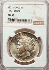 1921 S$1 Peace Dollar NGC MS65 High Relief - 297419007