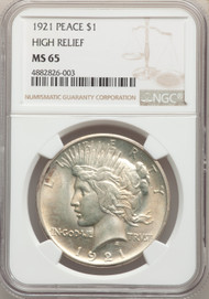 1921 S$1 Peace Dollar NGC MS65 High Relief - 739392012