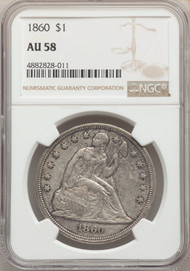 1860 S$1 Seated Liberty Dollar NGC AU58