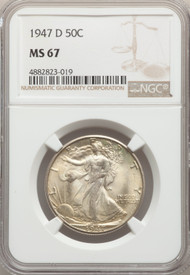 1947-D 50c Walking Liberty Half Dollar NGC MS67 - 737365009