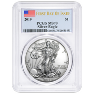 2019 $1 American Silver Eagle PCGS MS70 FDOI Flag Label