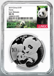 2019 10 Yuan Silver Chinese Panda NGC MS70 Early Releases Panda Label