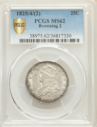 1825/4/(2) 25c Capped Bust Quarter PCGS MS62 Browning 2