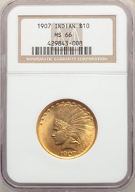 1907 $10 Gold Indian NGC MS66