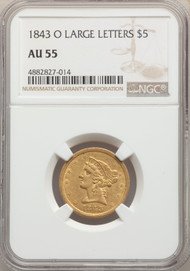 1843-O $5 Gold Liberty NGC AU55 Large Letters