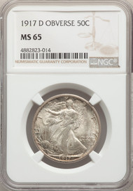 1917-D 50c Walking Liberty Half Dollar NGC MS65