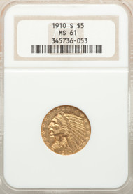 1910-S $5 Gold Indian NGC MS61