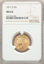1911-S $5 Gold Indian NGC MS63