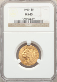 1910 $5 Gold Indian NGC MS65