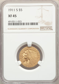 1911-S $5 Gold Indian NGC XF45