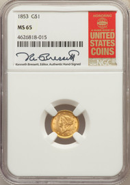 1853 G$1 Gold Liberty Head NGC MS65 - 730112015
