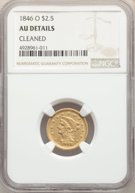 1846-O $2.5 Gold Liberty NGC AU Details Cleaned