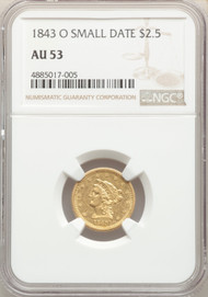1843-O $2.5 Gold Liberty NGC AU53 Small Date