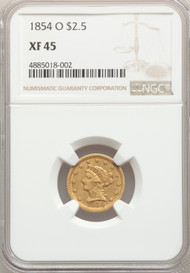 1854-O $2.5 Gold Liberty NGC XF45