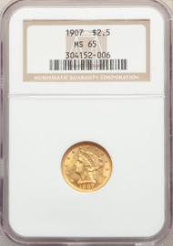 1907 $2.5 Gold Liberty NGC MS65 - 741159053