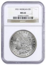 1921-P Morgan Silver Dollar NGC MS65