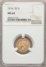 1914 $2.5 Gold Indian NGC MS64 - 296872009