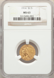 1914 $2.5 Gold Indian NGC MS63