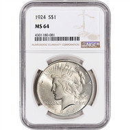 Peace Dollar NGC MS64 (Mixed Dates)