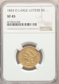 1843-O $5 Gold Liberty NGC XF45