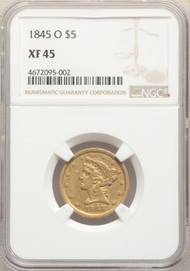 1845-O $5 Gold Liberty NGC XF45