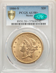 1866-S Motto $20 Gold Liberty NGC AU58+ CAC