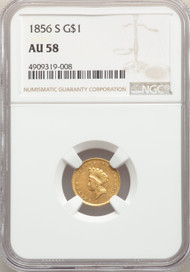 1856-S G$1 Gold Princess NGC AU58