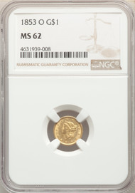 1853-O G$1 Gold Liberty Head NGC MS62
