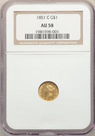 1851-C G$1 Gold Liberty Head NGC AU58