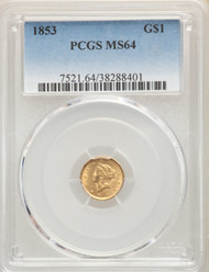1853 G$1 Gold Liberty Head PCGS MS64