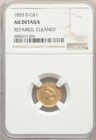 1855-D G$1 Gold Princess AU Details Repaired, Cleaned