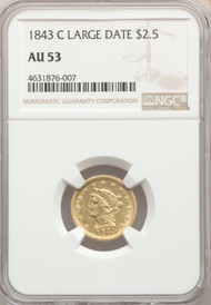 1843-C $2.5 Gold Liberty NGC AU53 Large Date