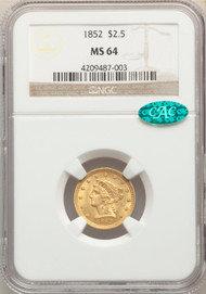 1852 $2.5 Gold Liberty NGC MS64 CAC