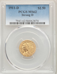 1911-D $2.5 Gold Indian PCGS MS62 Strong D