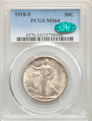 1918-S 50c Walking Liberty Half Dollar PCGS MS64 CAC