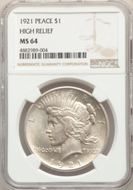 1921 S$1 Peace Dollar NGC MS64 High Relief - 741139013