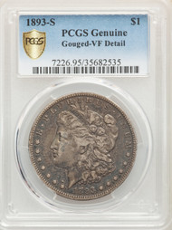 1893-S S$1 Morgan Dollar PCGS Genuine Gouged-VF Detail