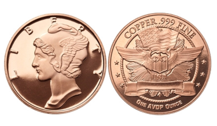 Lot of 5-1 oz Copper Rounds Walking Liberty